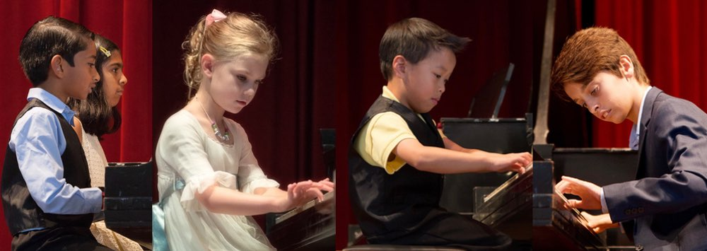 Students posing at one of our piano recitals at Friday Morning Musicale in Tampa FL